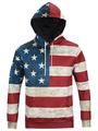 Flag Printed Hoodie Men's Long Sleeves Striped Sweatshirt With Hood 4292