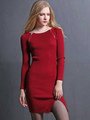 Ribbed Knit Sweater Dress Charming Long Sleeve Solid Color Bodycon Knitted Dress 4292