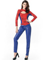 Halloween Costumes Spiderman Women's Jumpsuit Cosplay Color Block Cut-out Outfit 4292