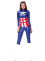 Halloween Costume Captain America Women's Blue Outfit Cosplay Color Block Set With Cummerbund 4292