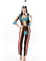 Halloween Costumes Indian Jumpsuit Women's Outfit Cosplay With Indian Headgear Halloween 4292