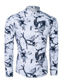 Long Sleeve Shirt Men's Black Printed Cotton Casual Shirt 4292