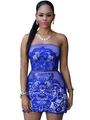 Sexy Party Dress Blue Strapless Mesh Lace Mini Dress For Women 4292