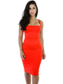 Sexy Club Dress Women's Orange Strappy Sleeveless Lace Up Cut Out Backless Bodycon Dress 4292