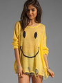Yellow Knit Sweater Smiling Face Women's Round Neck Cut Out Casual Pullover Sweater 4292