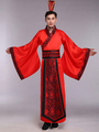 Halloween Chinese Costume Fancy Dress Han Ancient Costume Red Satin Gown Set For Men In 3 Piece 4292