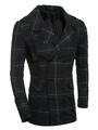 Green Pea Coat Men's Turndown Collar Long Sleeve Plaid Hooded Casual Coat 4292