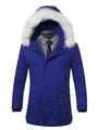 Men's Blue Parka Hooded Faux Fur Drawstring Waist Casual Winter Coat 4292