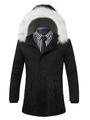 Men's Black Parka Faux Fur Hooded Drawstring Waist Casual Winter Coat 4292