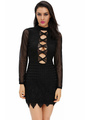 Black Club Dress Women's Cut Out Backless Stand Collar Sexy Bodycon Dress With Illusion Long Sleeve 4292