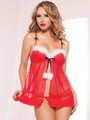 Sexy Christmas Costume Fur Trim Christmas Lingerie Red Tulle Open Front Babydoll Set With Thong And eyepatch 4292