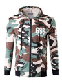 Men's Camo Hoodie Zip Up Cotton Long Sleeve Slim Fit Hooded Jacket 4292