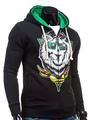 Black Zip Hoodie Men's Long Sleeve Printed Casual Cotton Casual Sweatshirt Jacket 4292