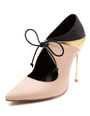Nude High Heels Stiletto Pointed Toe Lace Up Metal Detail Pumps Shoes For Women 4292