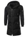 Black Quilted Coat Men's Hooded Long Sleeve Zip Up Slim Fit Cotton Coat 4292