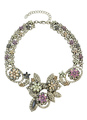 Silver Link Necklace Jeweled Flower Short Necklace For Women 4292