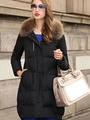 Women's Black Coat Wadded Faux Fur Collar Hooded Winter Coat 4292