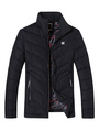Black Quilted Jacket Men's Zip Up Padded Puffer Coat For Winter 4292
