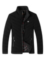 Black Quilted Jacket Men's Long Sleeve Padded Puffer Winter Coat 4292