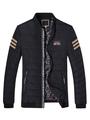 Winter Quilted Coat Black Men's Stripe Detail Puffer Jacket 4292