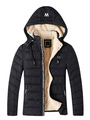 Black Quilted Jacket Men's Hooded Letters Detail Lined Warm Winter Puffer Coat 4292