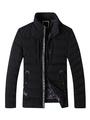 Black Quilted Jacket Men's Zip Up Letters Detail Puffer Winter Coat 4292
