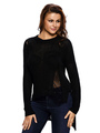 Black Pullover Sweater Women's Round Neck Long Sleeve Cut Out High Low Knit Sweater 4292