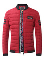 Red Quilted Coat Stand Collar Long Sleeve Zip Up Cotton Winter Coat For Men 4292