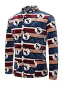Men's Quilted Coat Stand Collar Long Sleeve Printed Front Button Winter Coat 4292
