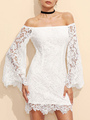 Lace Bodycon Dress White Off The Shoulder Bell Long Sleeve Slim Fit Sheath Dress 4292