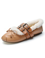 Women's Ballet Flats Light Brown Round Toe Buckled Ballet Shoes With Bow 4292
