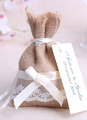 Wedding Favor Bag Linen Lace Ribbons Bow Lace Up Small Gift Bag With Tag 4292
