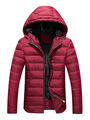 Red Quilted Coat Hooded Long Sleeve Zip Up Winter Coat For Men 4292