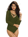 Women's Sexy Bodysuit Dark Green V Neck Long Sleeve Criss Cross Slim Fit Bodysuit 4292