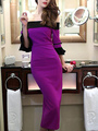 Purple Polyester Bodycon Dress Off-the-Shoulder Party Dress for Women 4292