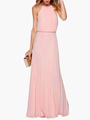 Halter Cut Out Sleeveless Pleated Women's Maxi Dress 4292
