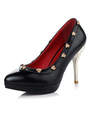 Women's High Heels Pointed Toe Metal Rivets Platform Pumps 4292