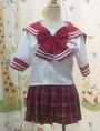 Red Short Sleeves Sailor School Uniform Cosplay Costume Halloween 4292