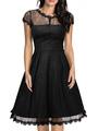 Black Lace Dress Short Sleeve Women's Illusion Round Neck V Back Pleated Skater Dress 4292