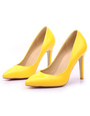 Yellow High Heels Pointed Toe Women's PU Slip On Stiletto Heel Pumps 4292