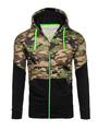 Men's Camo Hoodie Printed Contrast Color Long Sleeve Zip Up Hoodie 4292