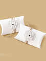 Wedding Favor Boxes White Flowers Pillow Type Small Gift Box (12pcs A Set ) 4292