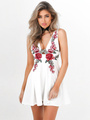 White Skater Shoes Plunging Neckline Sleeveless Floral Embroidered Short Dress 4292