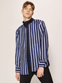 Striped Blue Shirts Men's Long Sleeve Casual Shirt 4292