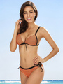 Women's Sexy Swimwear Spaghetti Straps Ties Decor Stripes Printed String Bikini Set In 2 Pieces 4292