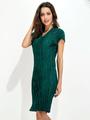 Cotton Bodycon Dress Women's Dark Green V Neck Short Sleeve Side Slit Chic Pencil Dress 4292