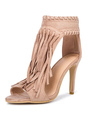 High Heel Sandals Suede Nude Open Toe Ankle Strap Sandal Shoes With Tassels 4292