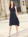 Women's Skater Shoes Deep Blue V Neck Sleeveless Striped Flare Dress 4292