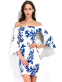 White Bodycon Dress Off The Shoulder Bell 3/4 Length Sleeve Printed Slim Fit Short Dress 4292
