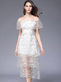 White Party Dress Off The Shoulder Floral Embroidered Lace Dress For Women 4292